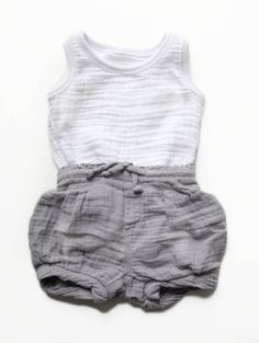 "Adore! ""Baby grey shorts and white muslin shirt"""