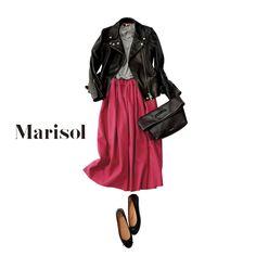 甘々で着ると老けてみえがちなベリー色は黒ライダースで若見えを狙うMarisol ONLINE|女っぷり上々!40代をもっとキレイに。