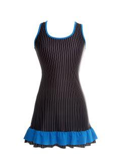 Vestido risca de giz folho azul (frente)_T www.modaypadel.com #padel #modapadel #padelfemenino