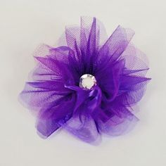 Large Purple Diamond Organza Flower Clip. Deep purple organza blossom hair clip for little girls with oversized rhinestone center. See More Hair Bows at http://www.ourgreatshop.com/Hair-Bows-C206.aspx