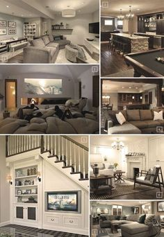 Some ways to make the basement family room more fun and entertaining would be to have a pool table or a pit pillow mound or beanbags in front of the TV ... & Basement Paint Colors | Pinterest | Basement paint colors Basements ...