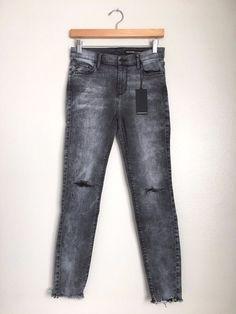 BLACK ORCHID Noah Crop Ankle Fray Ripped Skinny Jeans Grey Black 28 $189 #80 #BlackOrchid #SlimSkinny