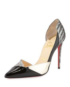 Tac Clac Patchwork Glitter Half d\'Orsay Red Sole Pump by Christian Louboutin at Bergdorf Goodman.