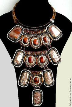 """Beaded necklace """"Clio"""". - A necklace of beads, beads and natural stones, jewelery with stones"""