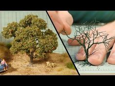How to apply woodland scenic's poly fibre to model tree - twist & wire - YouTube