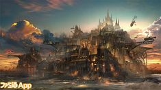 View an image titled 'Gold Heaven Art' in our Lost Order art gallery featuring official character designs, concept art, and promo pictures. Fantasy City, Fantasy Castle, Fantasy Places, Fantasy World, Fantasy Concept Art, Dark Fantasy Art, Fantasy Artwork, Fantasy Art Landscapes, Fantasy Landscape