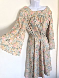 70s hippie dress with bell sleeves  vintage by PearlWhiteVintage, $38.00