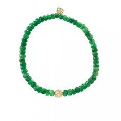Sydney Evan bracelet: 6mm Yellow-Gold & Diamond Ball on Emerald
