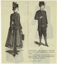 Woman In Dress And Boy With Tie And Hat, United States, 1880s.] From New York Public Library Digital Collections.