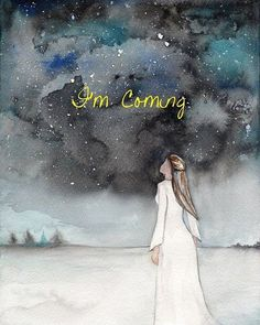 Im Coming,Prophetic Art ,painting of dream, night sky, Watercolor Print Images Instagram, Dream Night, Jesus Christus, Bride Of Christ, Prophetic Art, Jesus Is Coming, Biblical Art, Jesus Art, Daughter Of God