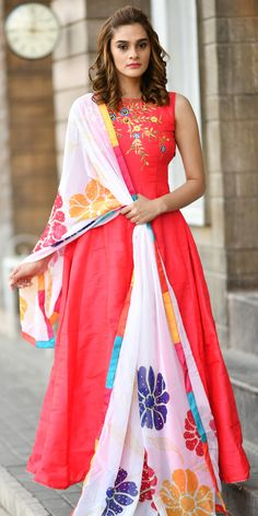 6b4f4573aa Georgeous Pink Ready Made Silk Gown.This party wear ready made gown has  beautiful look with embroidery which gives you ethnic look.