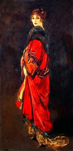 """John Lavery """"Hazel in Red and Gold"""" 1918"""