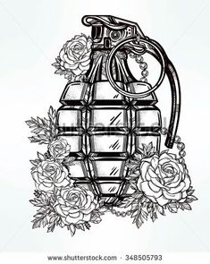 Rose grenade tattoo