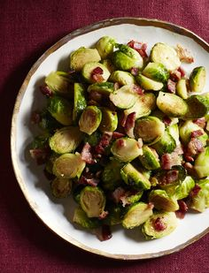 Maple-Bacon Brussels Sprouts #thanksgiving #sides #holidays #family