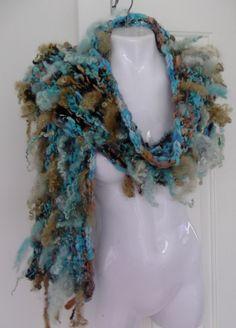big Scarf  Hand Spun Hand Knit Bulky Art Yarn  one of door plumfish