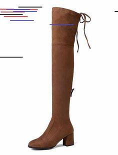 Cuissardes femme Gris Bottes au genou bout rond talon épais bottes hautes Knee Boots, Sport, Heels, Beauty, Fashion, Grey, Tall Boots, Chunky Heels, Heel