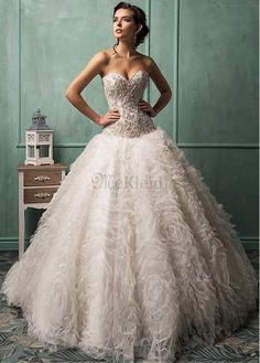 Elegant & Luxus Ärmellos Stickerei Herz-gestalte Ausschnitt Brautkleid - Bild 1