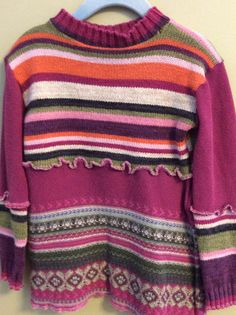 Children's tunic style sweater, Upcycled pullover sweater, Girls sweater, size 4-5 year girls sweater