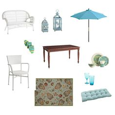 Blue and White Theme with Pier 1 Outdoor Furniture- omg I love this!! Can't wait for summertime