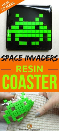 Remember the Space Invaders Arcade game that was popular in the 70s and 80s? Well, these DIY resin coasters recreate all the characters in their pixelated glory! Cast the resin aliens in bright colours using a silicone kitchen trivet with square cavities as the mould. Once they're cured, cast them into resin in a coaster mould. And then sit back and ENJOY your walk down memory lane! #MillLaneStudio #pixelart #diyresincoasters #howtomakeresincrafts #resinprojectideas #80sarcadegamespartyideas Diy Resin Coasters, Bar Coasters, Key Bottle Opener, Bottle Stoppers, Diy Gifts For Men, Cute Gifts, Wine Cupcakes, Resin Tutorial, Space Invaders