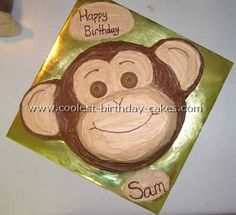 Monkey cake, seems simple enough, good idea to mix a little chocolate frosting into the vanilla frosting to make the light brown