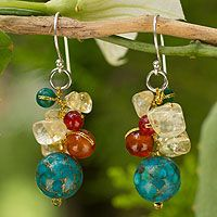 Carnelian and citrine cluster earrings, 'Blue World' by NOVICA