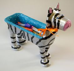Zebra desk accessories Upcycled whimsical black by RecycoolArt