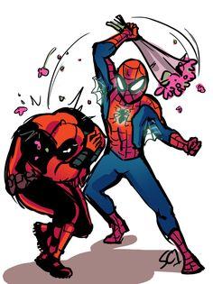 Spider-Man & Deadpool. Spideypool. <3