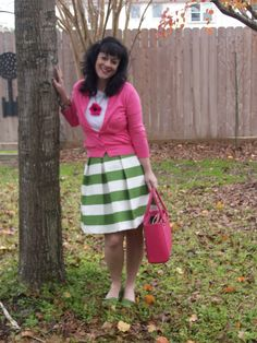 green stripe sandee royalty katie skirt, j crew jackie cardi and kate spade les fluers necklace, pink kate spade quinn
