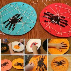 Manualidades para Halloween con pintura de dedos y bordado