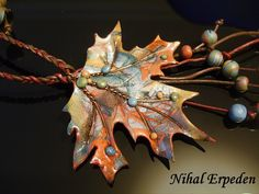 Polymer Clay Fall Leaf necklace by Nihal Erpeden.