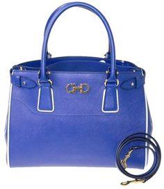 Salvatore Ferragamo Leather New Tote in Blue $1,330.00