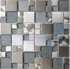 Modern Cobble Stainless Steel With Silver Glass Tile - modern - kitchen tile - Eden Mosaic Tile