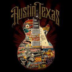 Austin Live Music Guitar - Black Shirt. Has concert Tickets written all over it!