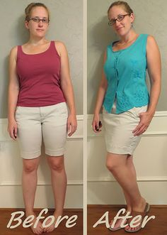 Khaki Skirt Refashion by CarissaKnits - Too snug shorts make skirt that fits much better. Such a great transformation!