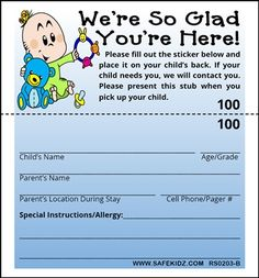 Our nursery and Childcare Security and Identification Labels and tags offer an easy and cost effective way to check people into your nursery, facility or special event. These labels provide information your staff needs to help confirm identification or ownership, and can be used in many applications.