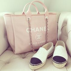 Beautiful CHANEL Deauville Tote & CHANEL Espadrilles by @fashiongallerist Don't forget to check my Blog to see the article. LINK IN BIO #chaneltote #chaneldeauville #chanelespadrilles