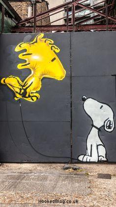 London graffiti artists Fanakapan paints Snoopy in a street art mural titled, Woodstock Got High in Haggerston. #streetart #graffiti #Snoopy Murals Street Art, Street Art Graffiti, Graffiti Murals, Graffiti Artists, Banksy, Pavement Art, Building Art, Mural Wall Art, Outdoor Art