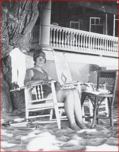 Agatha Christie, sunburned and relaxed. Waikiki Beach, Honolulu, Aug./Sept. 1922. Photograph from Agatha Christie Collection