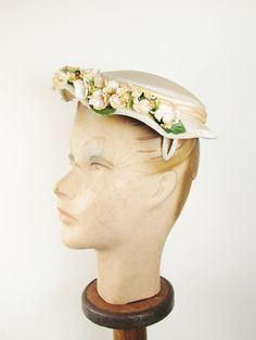 Vintage Hat with Apple Blossoms Spring Topper by FairSails on Etsy