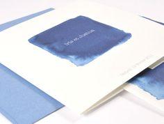 Faire-part de mariage simple carré bleu