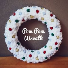 "OK.  This is adorable. :-) Free DIY How to make this pom pom wreath #Christmas #chraft #diy #wreath {Have YOU downloaded your FREE Sweater-izer app yet? You can even ""Sweater-ize For A Cause"" Link to AppStore to learn more & download: https://itunes.apple.com/us/app/sweater-izer/id578251544?mt=8"
