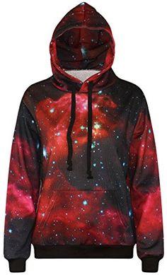 FLYCHEN Men's Digital Print Sweatshirts Hooded Top Galaxy Pattern Hoodie Small/Medium Black Red Galaxy-8