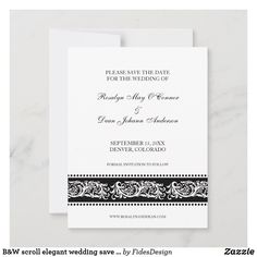 Modern Wedding Save The Dates, Black And White Colour, Save The Date Cards, Elegant Wedding, Texts, Color Schemes, Budget, Dating, Invitations