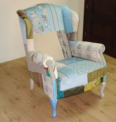 Muebles Portobellostreet.es: Orejero Patchwork Turquesa - Butacas Vintage - Muebles Vintage