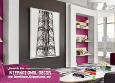 Stylish built in shelves, corner shelves of plasterboard