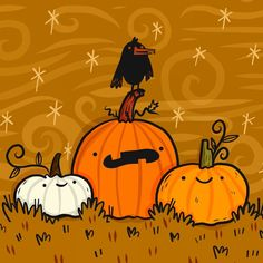 Spooky pumpkin patch Halloween art by Lydia Jean Art