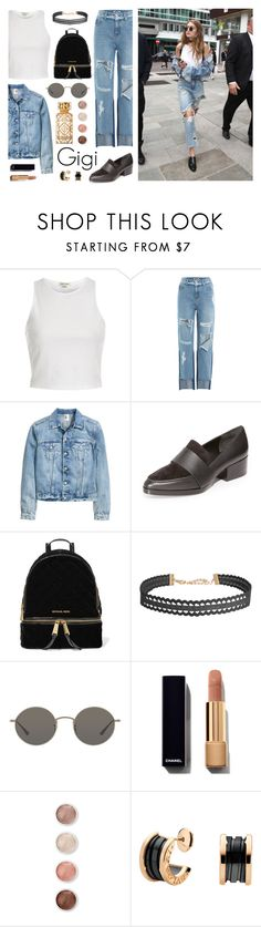 """""""gigi"""" by dffn-dn ❤ liked on Polyvore featuring River Island, SJYP, 3.1 Phillip Lim, MICHAEL Michael Kors, Humble Chic, Oliver Peoples, Terre Mère, Tory Burch, gigi and hadid"""