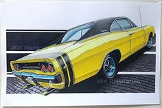 1968 dodge charger rt 1968 Dodge Charger, Car Drawings, Cool Cars, Vehicles, Bee, Drawings Of Cars, Honey Bees, Bees, Vehicle