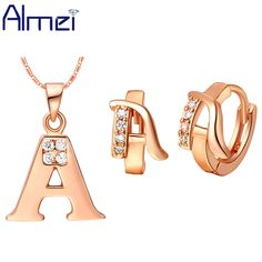 Find More Jewelry Sets Information about Almei Promotion Letter Jewelry Sets 925 Silver Micro Pave Australian Crystal Earrings and Rose Gold Plated Necklace Set T324,High Quality jewelry elastic,China jewelry box necklace holder Suppliers, Cheap jewelry shop from ULove Fashion Jewelry Store on Aliexpress.com